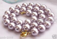 "10mm Lavender South Sea Shell Pearl Round Gemstone Necklace 18""AAA"