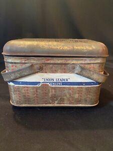 Vintage Union Leader Cut Plug Tobacco Tin Metal Basket Lunch Pail Paper Label
