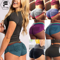 Womens Gym Yoga Mini Shorts Ruched Cycling Sports Fitness Stretch Hot Pants US