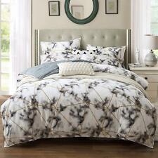 Kosa Bedding White Marble Duvet Cover Set, 100% Cotton Bedding,Printed Duvet Cov