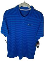 Nike Dri-Fit Polo Golf Shirt Sz L-XXL Men's Blue Striped Short Sleeve 890103-465