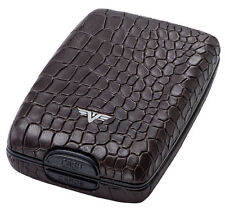 Tru Virtu Cash & Cards ( Oyster 2 ) BRown Leather Croco Aluminum Luxury Wallet