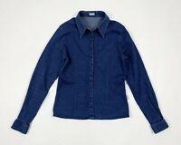 Basile camicia donna usato aderente S stretch denim shirt used blu hot T5909