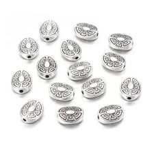20pcs Tibetan Alloy Oval Metal Beads Carved Flower Loose Spacers Silver 11x9mm