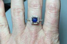 0.70 CT Asscher Cut Blue Sapphire Halo Ring 14k White Gold w/ 30 Round Diamonds