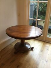 VINTAGE SOLID GOLDEN MAHOGANY ROUND DINING TABLE ORNATELY CARVED LEGS