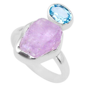 925 Sterling Silver 9.45cts Natural Pink Kunzite Rough Topaz Ring Size 8 T48196