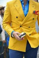 Men Yellow Double Breasted Peak Lapel Tuxedos Wedding Suit Groom Blazer Custom