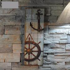 HOT Nautical Decor Rustic Wood Sign Plaque Home Wall Art Picture Anchor Design