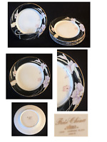 "VINTAGE Mikasa Fine China Salad Plates 7.5"" CHARISMA BLACK L9050 / 5-Piece Set"