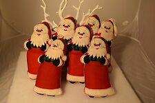 "Vintage Large Felt Santa Ornaments Set of Seven  9"" tall"