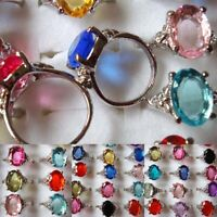 5/10/20Pcs Wholesale Jewelry Mixed Lots Silver Plated Crystal Rhinestone Rings