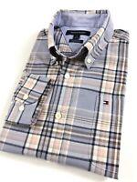 TOMMY HILFIGER Shirt Men's Poplin Lavender Purple Multi Tartan Checks Custom Fit