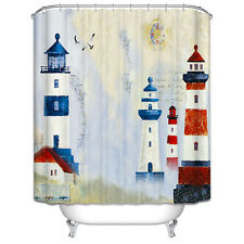 Lighthouses Shower Curtain Ocean Nautical Seagull Sailboat Red White Blue Summer