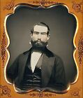 Perfectly Trimmed Thick Bearded Light Eyed Man 1/6 Plate Daguerreotype H801