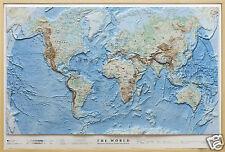 Mondo Carta in Rilievo con Cornice [100X68 Cm] [Mappa] Global Map