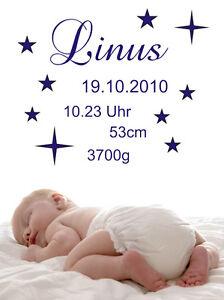 Wandtattoo Aufkleber Baby Geburt Datum Daten Sterne M-XL wu049