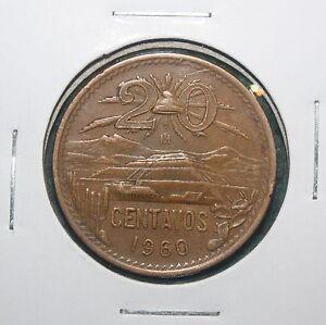 """1960 """"M"""" MEXICO - 20 - CENTAVOS COIN"""