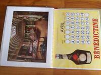CALENDRIER PUBLICITAIRE liqueur LA BENEDICTINE 1955 - 1956 - 1957 alcool