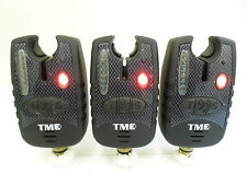 3 x Carp Bite Alarms - Red Running LED's, Dropbacks, 2.5mm Jacks, Latching LED