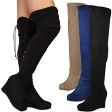 640c1071886746 New Drawstring Tie Lace Up Women Over The Knee High Boot Wedge Platform  Heel Zip