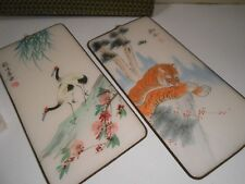 Pair of Vintage Chinese Silk Hand Painted Wall Hangers