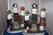 Two snowman  candle holders