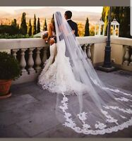 UK Luxury 3 M White/Ivory 1 Layer Cathedral Wedding Veil With Comb Lace Edge