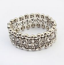Bracciali Braccialetto Donna Strass Chiaro Perline Bead Bracelet Bangle Moda HOT