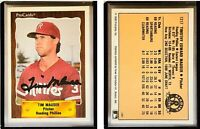 Tim Mauser Signed 1990 CMC #801 Card Reading Phillies Auto Autograph