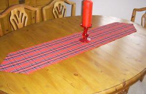 CHRISTMAS RED TARTAN TABLE RUNNER BURNS NIGHT 135cm x 26cm Decoration pointed
