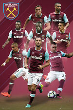 West Ham United 2016/17 8-Players in Action Poster Feghouli, Carroll Payet +