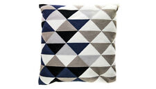 Cushion - Embroided Cotton Navy & Grey