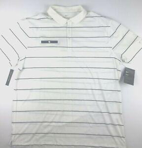 Nike Mens XL Player Creme White Blue Stripe Dri Fit Standard Golf Polo Shirt NWT