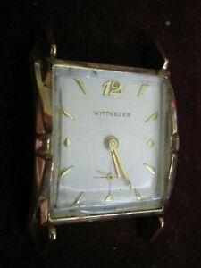1950s Solid 14K WITTNAUER Swiss Tank Wrist Watch, 17J 9WN, 2nd Hand, Keeps Time