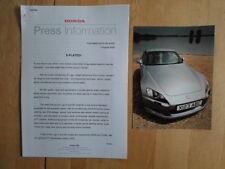 HONDA X PLATE orig 2000 UK Mkt Press Release + S2000 Photo - Brochure