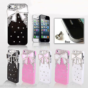 NEW 3D BLING DELUX WHITE PINK BLACK DIAMANTE SPARKLE CASE COVER FOR IPHONE 5 5S