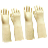 2 Pairs Rubber Latex Gloves White 60cm Long Gloves Industrial Home Gardening