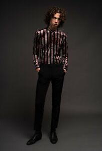 Mens Cavern Black Red White Striped Velvet Kaftan Shirt Mod 60s XS S M L XL XXL