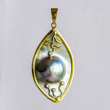 AUSTRALIAN ABROLHOS MABE PEARL PENDANT GENUINE DIAMONDS REAL 18CT 750 GOLD NEW