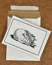 Cat Sleeping 5x7 Notecards, Set Of 4 Pen & Ink Notecards, Great Stocking Stuffer
