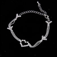 Adjustable Crystal Diamante Love Heart Anklet Foot Bead Chain Ankle Bracelet