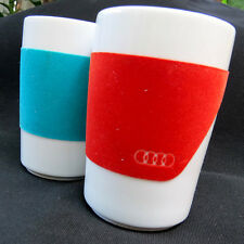 Kahla Audi Logo Emblem Good Grip Cups Mugs Porcelain Red Blue Germany Car Auto