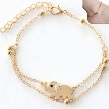 Vintage Sexy Women Charm Rhinestone Gold Elephant Chain Bracelet Jewelry Gift FT