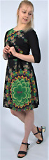 New Desigual Ladies Dress, DUCK, 3/4 Sleeve, Size M, Boat Neck, Black&Multi
