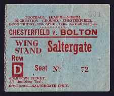 CHESTERFIELD v BOLTON WANDERERS 1945/1946 *Good Condition Ticket*