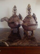 Pair Of Silver Tibetan Buddhist Ceremonial Vessels Kapala -20Th Cent. Or Earlier