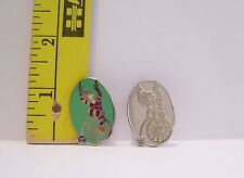 Walt Disney TOONTOWN LADY RIDING UNICYCLE HIDDEN MICKEY TRADING PIN & CHASER SET
