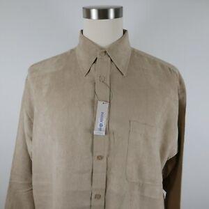 NEW Oleg Cassini Mens Soft Silk Rayon Blend LS Button Down Beige Dress Shirt XXL
