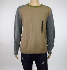 Tricots St Raphael Mens Camel Hthr Colorblocked Elbow-Patch Crewneck Sweater 2XL